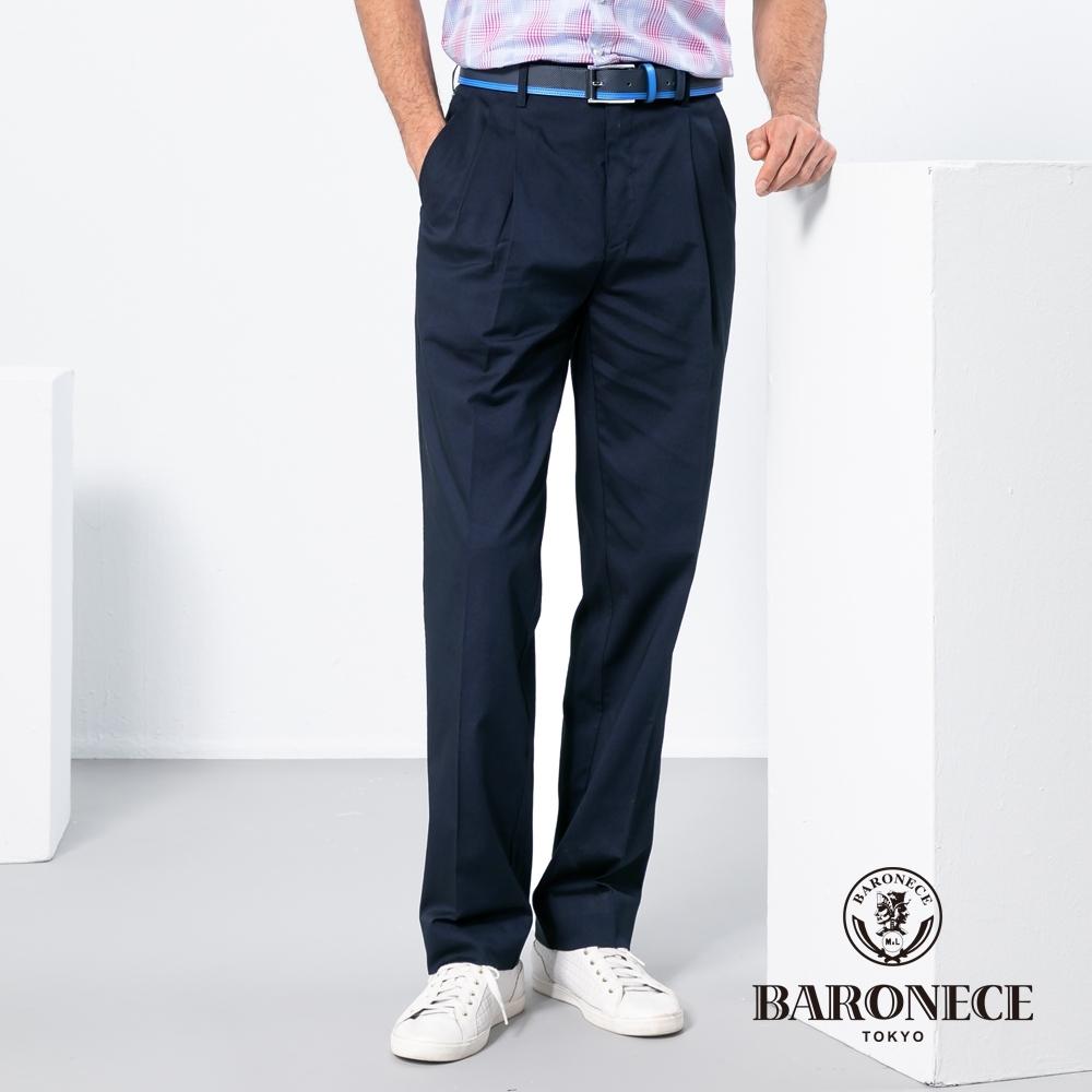 BARONECE 百諾禮士休閒商務  男裝 彈性天絲雙褶休閒長褲-丈青色(1188887-38)