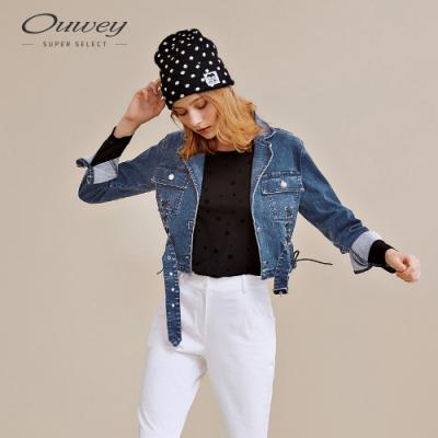 OUWEY歐薇 個性丹寧綁帶短版外套(藍)