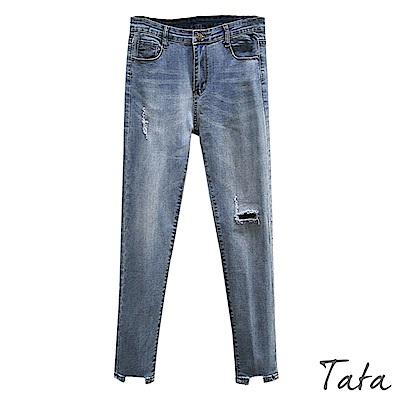 褲腳缺口刷破窄管牛仔褲 TATA-(S~L)