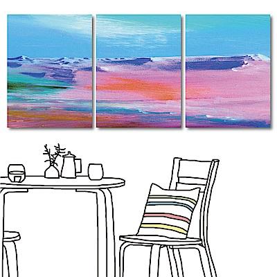 24mama掛畫 三聯 抽象手繪風無框畫-粉紅世界30x40cm