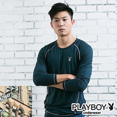PLAYBOY極限運動型男發熱保暖衣-丈青底灰線