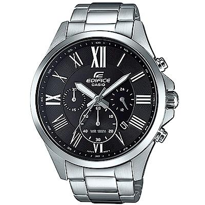 EDIFICE 經典羅馬時刻大錶面時尚腕錶(EFV-500D-1A)黑/48mm
