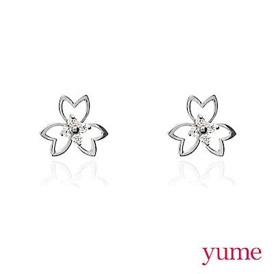 YUME - K金櫻花晶鑽耳環