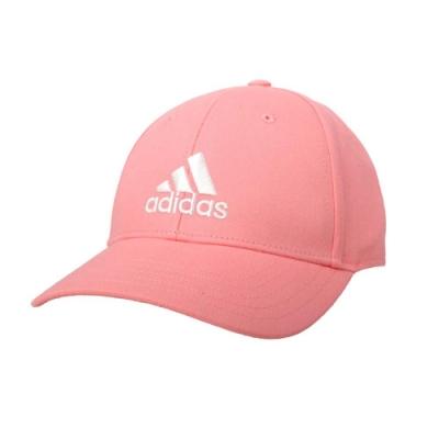 ADIDAS 運動帽-純棉 遮陽 防曬 鴨舌帽 帽子 愛迪達 基本款 棒球帽 FK0893 亮粉白