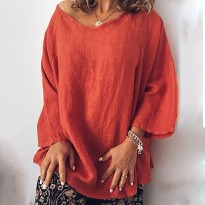 【KEITH-WILL】(現貨)素色歐美風棉麻寬鬆上衣-1色