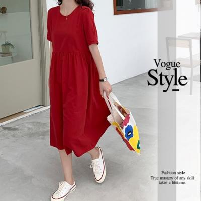2F韓衣-優雅圓領拼接綁帶造型洋裝-紅(F)