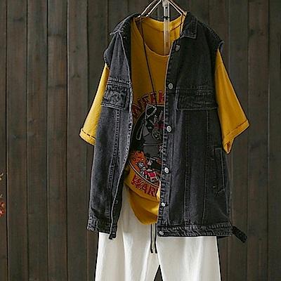 休閒個性牛仔背心馬甲文藝無袖開衫外套-設計所在