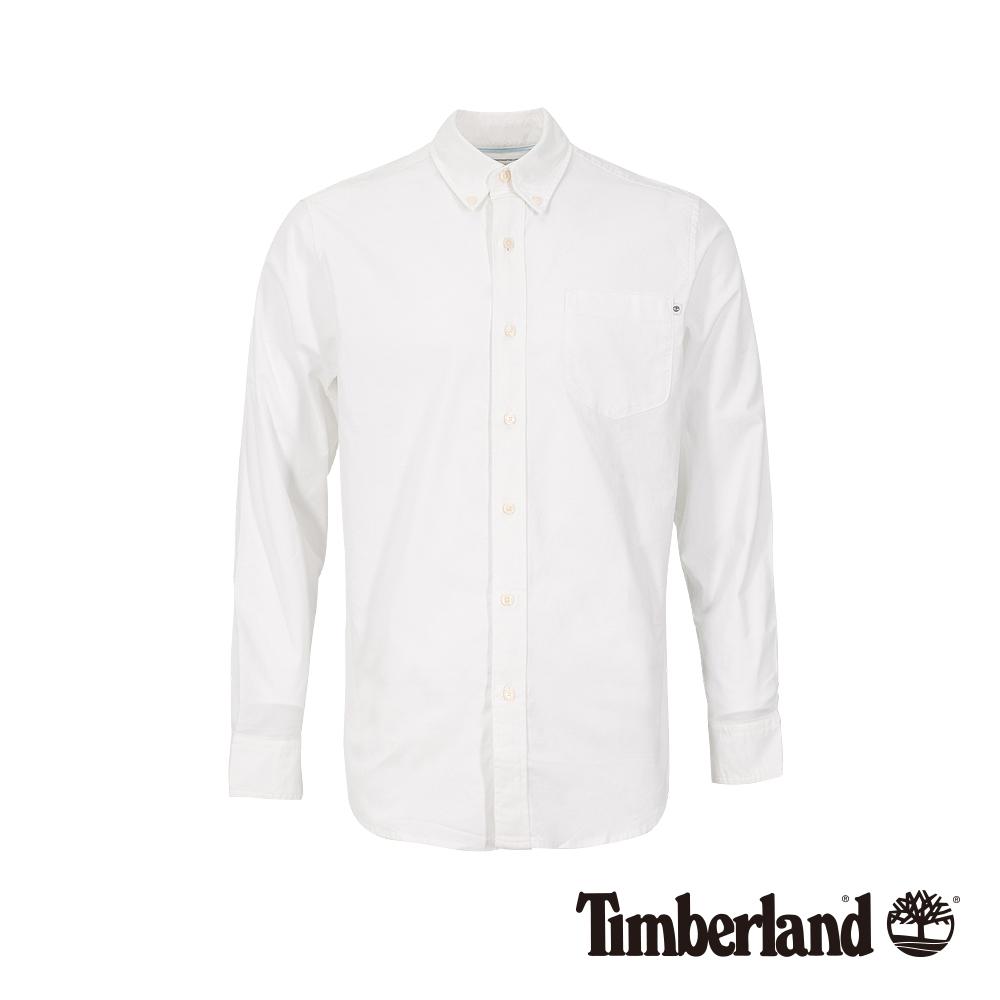 Timberland 男款白色織色彈力牛津紡長袖襯衫|A1WNK