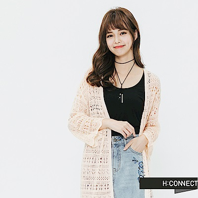 H:CONNECT 韓國品牌 女裝-針織繡花罩衫-卡其