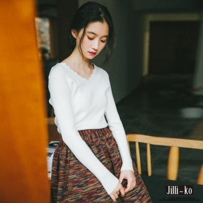 JILLI-KO 韓版V領修身打底針織衫- 白色