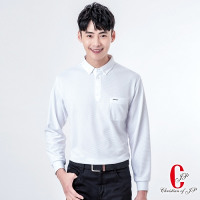 Christian  厚棉料口袋設計POLO衫_白(PW815-80)