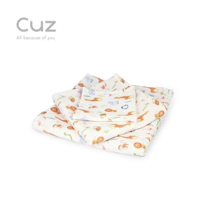 【Cuz】我們家是動物園(防皺紗布巾/方巾/嬰兒包巾)-90cm