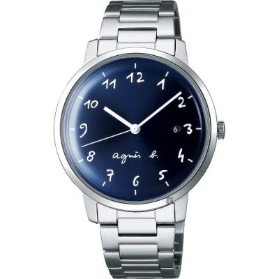 agnes b. 簡約時尚手寫時標手錶(BG8006X1)-藍x銀/37mm