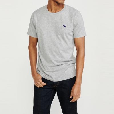 麋鹿 AF A&F 經典圓領電繡麋鹿素面純棉短袖T恤(BONL)-淺灰色