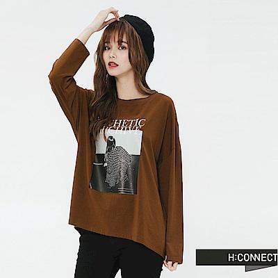 H:CONNECT 韓國品牌 女裝-黑白圖印長袖T-shirt-棕