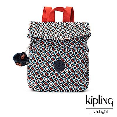 Kipling多彩地中海印花後背包-中