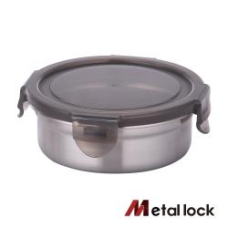 韓國Metal lock圓形不鏽鋼保鮮盒320ml.露營野餐不銹鋼金屬環保收納廚房食物醃漬