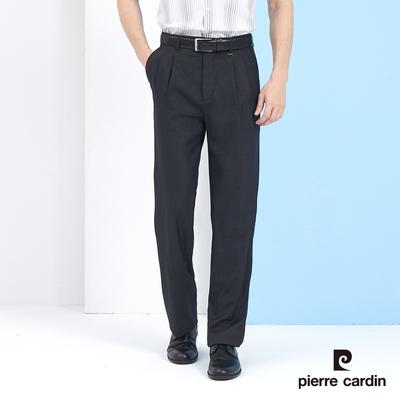 Pierre Cardin皮爾卡登 男裝 彈性暗紋打摺西裝褲-深灰色 (5217848-98)