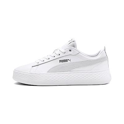 PUMA-Smash Platform L女性復古休閒鞋-白色