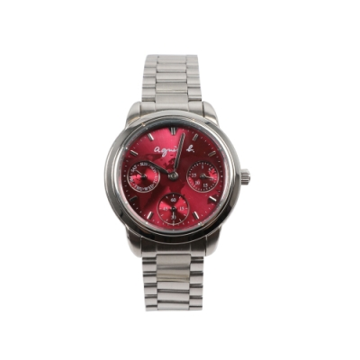 agnes b. 環遊世界地圖日曆女錶-紅x銀/32mm