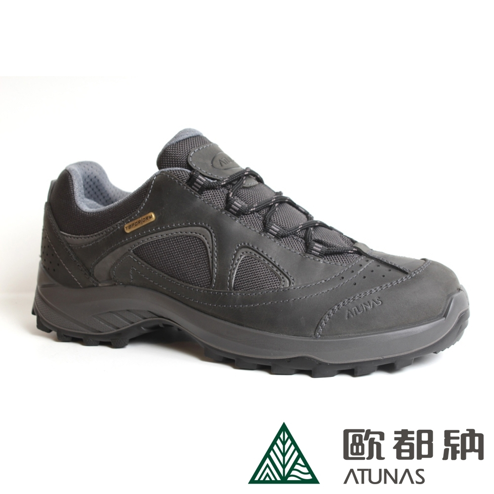 【ATUNAS 歐都納】男款防水透氣低筒健行鞋A1GCBB14N灰/寬楦/耐磨/制震