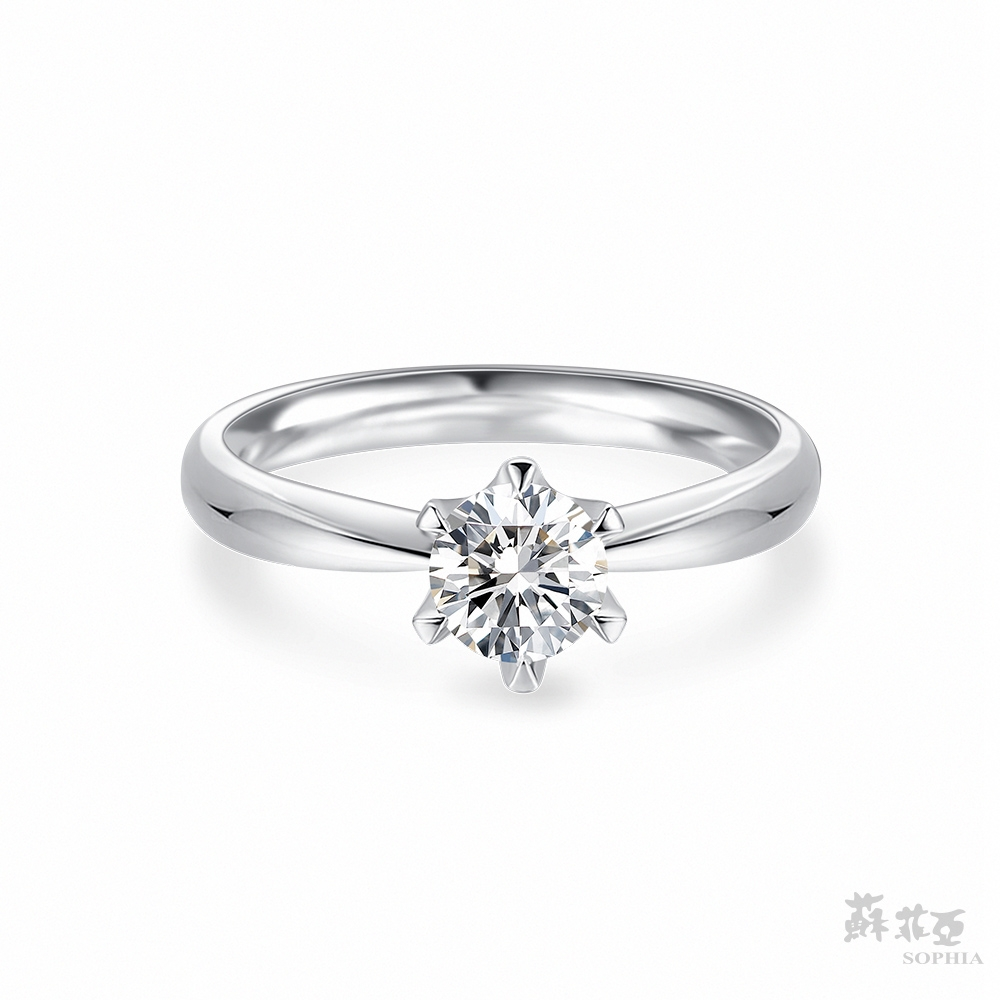 SOPHIA 蘇菲亞珠寶 - 經典六爪 GIA 0.50克拉E_VS2 18K白金 鑽石戒指