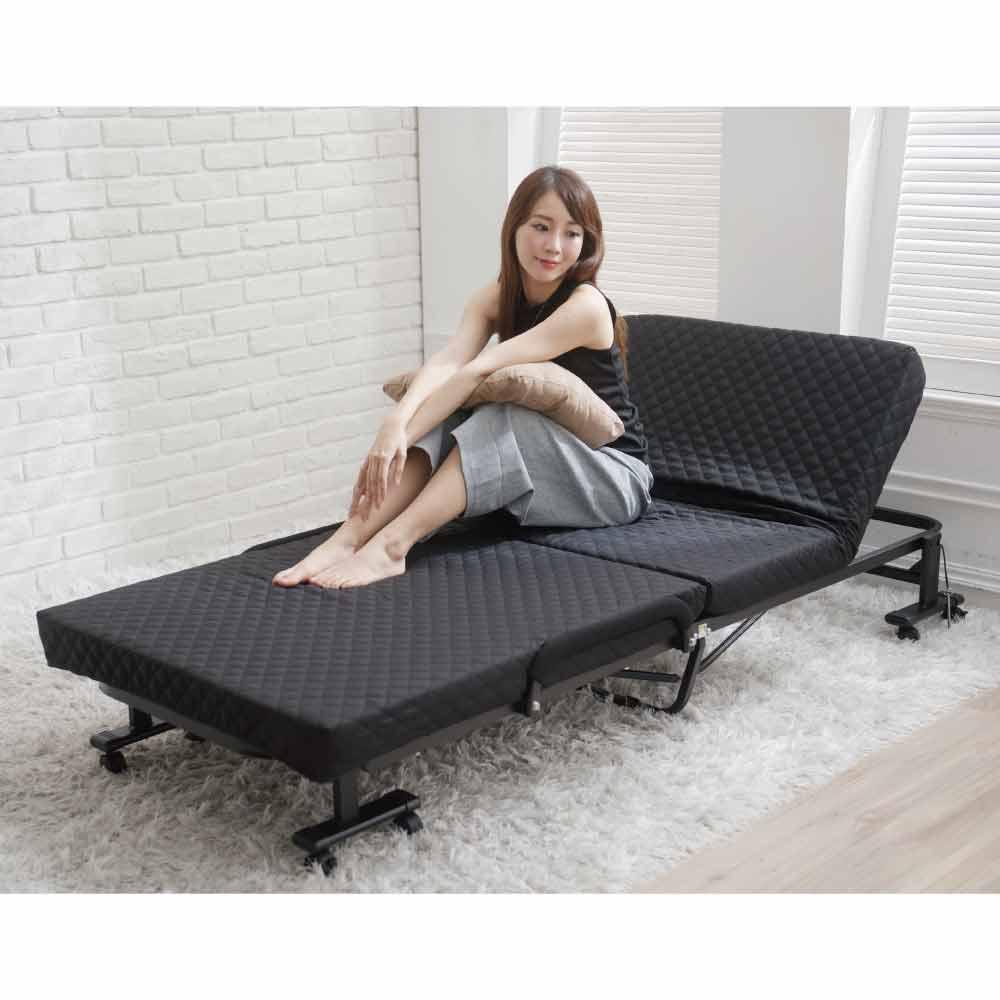 Simple Life免組裝6段折疊床-黑S-22