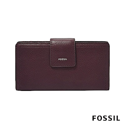 FOSSIL LOGAN 真皮RFID中長夾-無花果紫紅色 SL7927503