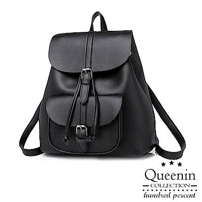 DF Queenin日韓 - 淑女風範優雅純色2way後背包-黑色