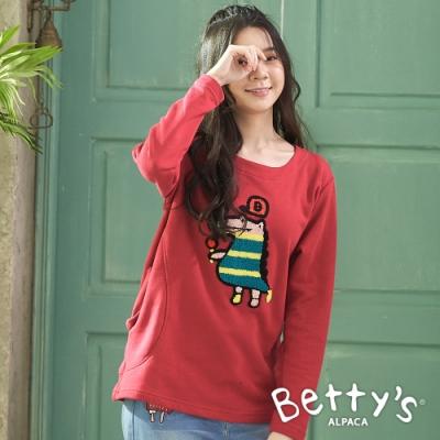 betty's貝蒂思 長版圓領立體繡線上衣(紅色)