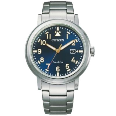 CITIZEN 星辰 光動能日系時尚手錶-藍/40mm(AW1620-81L)