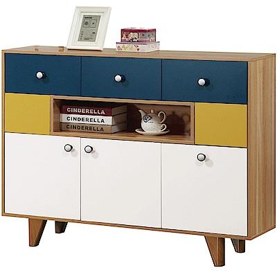 文創集 奧斯時尚4尺美型五抽書櫃/收納櫃-120x32x95.5cm免組