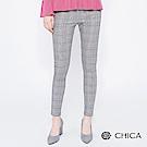 CHICA 經典英倫拼接織帶格紋內搭褲(2色)