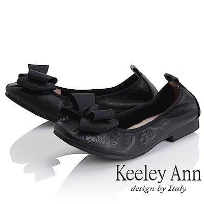 Keeley Ann 簡約百搭~立體蝴蝶結緞帶柔軟舒適娃娃鞋(黑色)