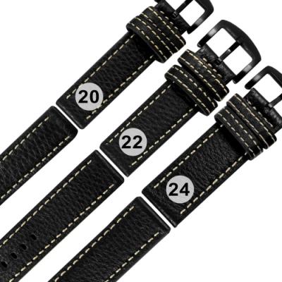 Watchband / 各品牌通用 經典復刻 柔軟 加厚款 真皮錶帶-黑色