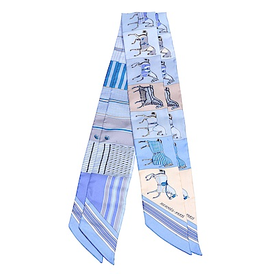 HERMES 愛馬仕馬匹圖案Twilly絲巾領結(藍-一組兩條)