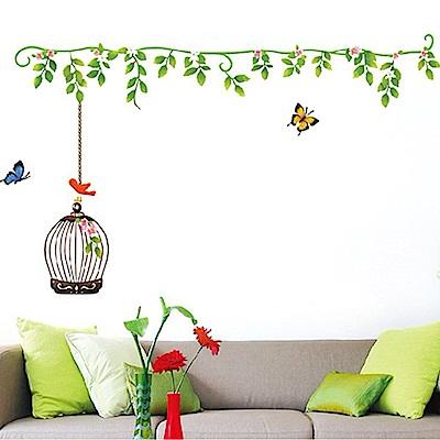 半島良品 DIY無痕壁貼-花藤鳥籠 AY615 45x60cm