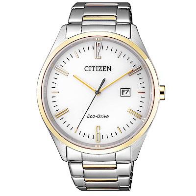 CITIZEN 星辰光動能知性時尚手錶(BM7354-85A)-銀x半金/42mm