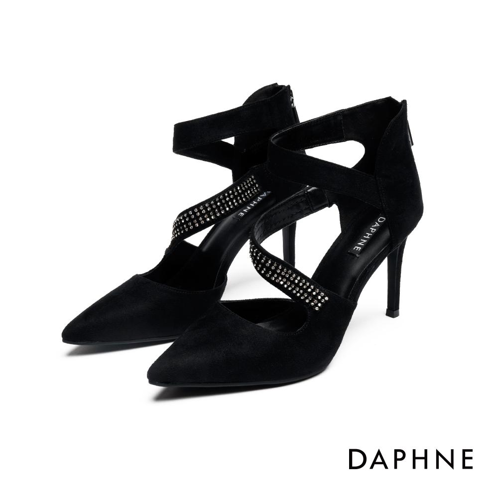 達芙妮DAPHNE 高跟鞋-絨面S腳背帶鑽尖頭高跟鞋-黑