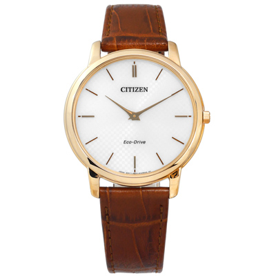 CITIZEN 光動能藍寶石水晶玻璃牛皮手錶 銀白x香檳金框x咖啡/39mm