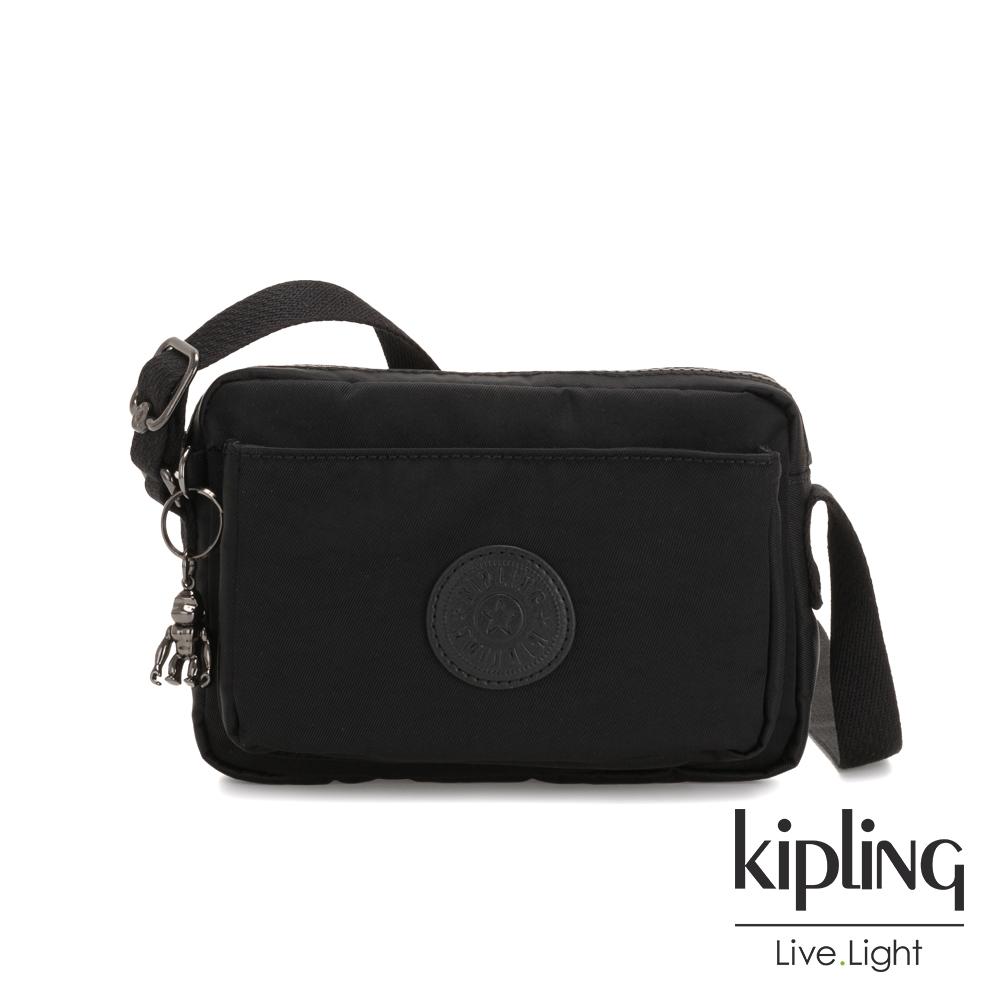 Kipling 極致低調黑前後加寬收納側背包-ABANU