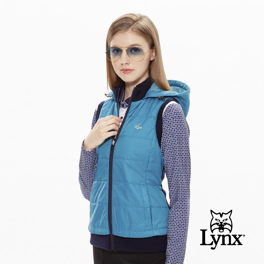 【Lynx Golf】女款防風美麗諾羊毛剪接無袖背心-湖綠色