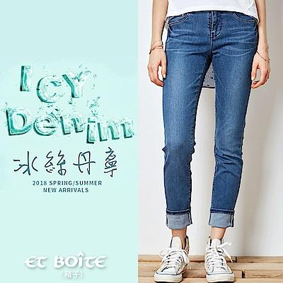 ETBOITE 箱子 BLUE WAY 冰絲弧線蕾絲翹臀小直筒褲(深藍)