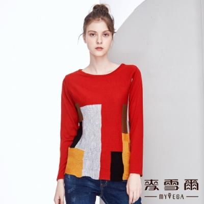 【麥雪爾】立體編織格子狀布面針織衫