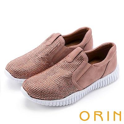 ORIN 休閒時尚風 閃閃燙鑽平底休閒鞋-粉紅