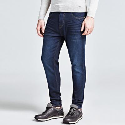 GUESS-男裝-貓鬚大口袋牛仔褲-深藍