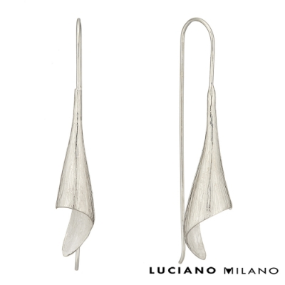 LUCIANO MILANO 浪漫極簡微春抽象線條純銀耳環(勾式)