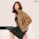 【周慶限量款】H:CONNECT 韓國品牌 女裝-雙口袋排扣麂皮外套-卡其