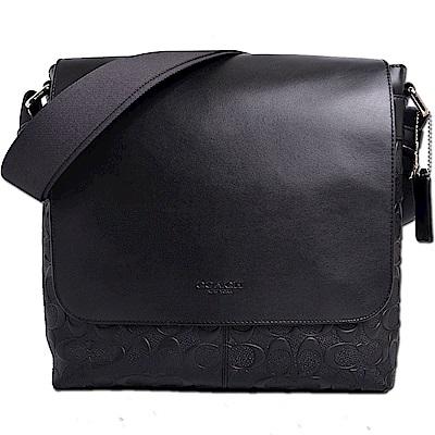 COACH 經典皮革壓印LOGO滿版C浮雕直式翻蓋斜背包-經典黑
