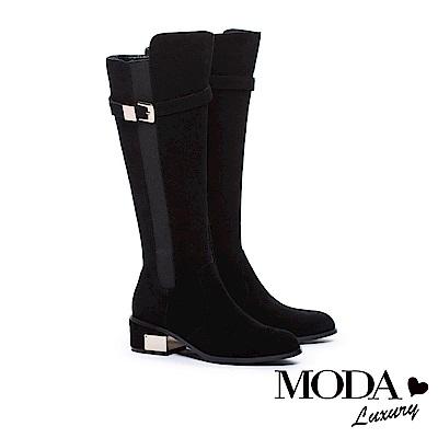 長靴 MODA Luxury 摩登俐落拼接設計金屬釦帶粗跟長靴-麂皮黑